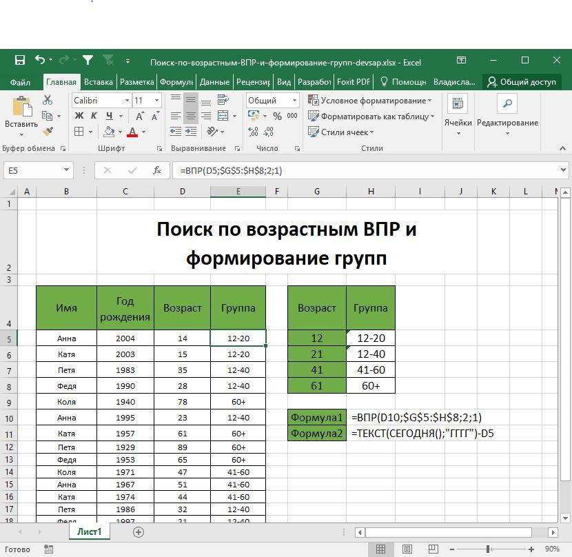 Поиск по возрастным ВПР и формирование групп-DEVSAP